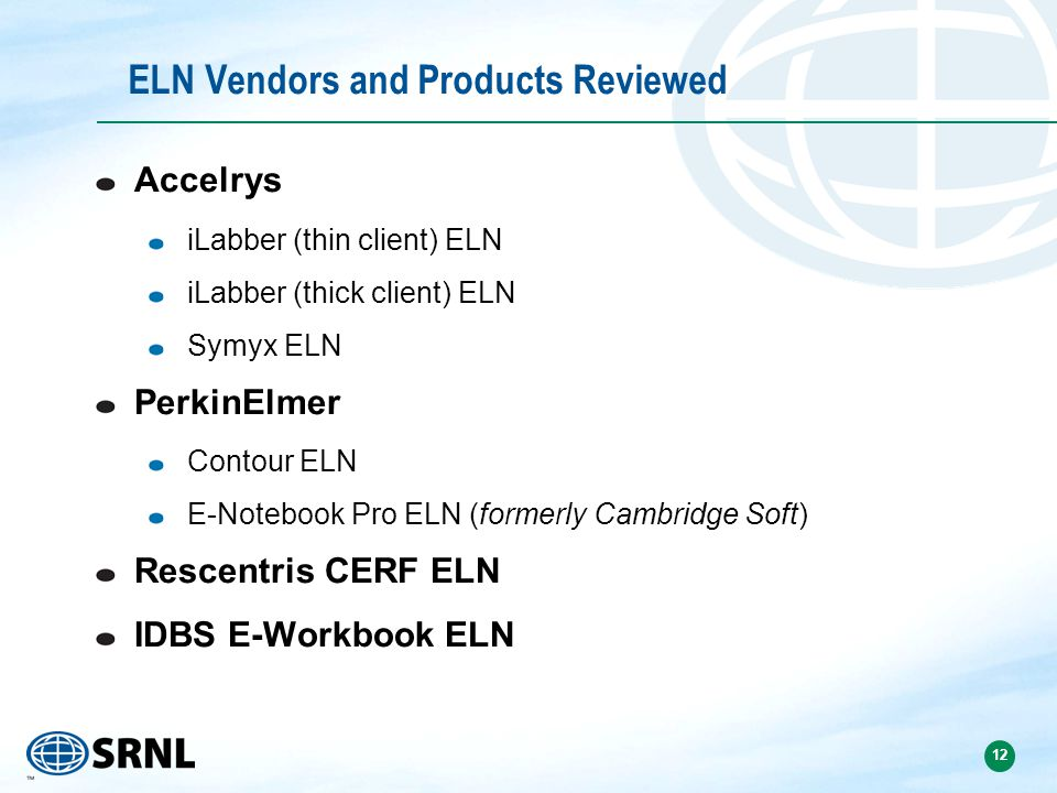 ELN Vendors and Products Reviewed