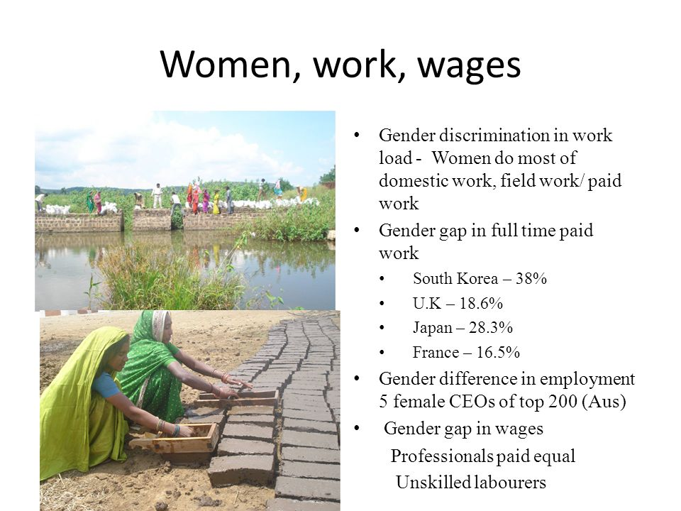 Women, work, wages Gender discrimination in work load - Women do most of domestic work, field work/ paid work.