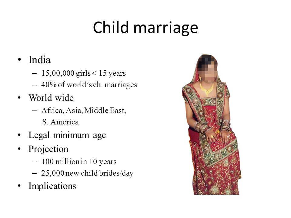 Child marriage India World wide Legal minimum age Projection