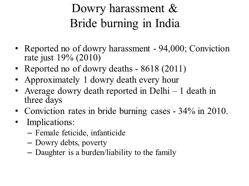 Dowry harassment & Bride burning in India