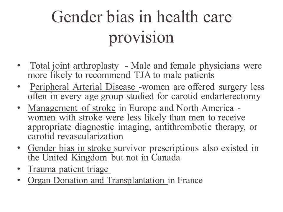 Gender bias in health care provision