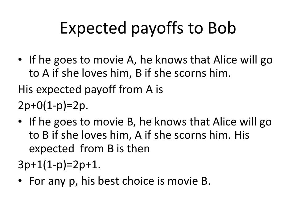 Expected payoffs to Bob