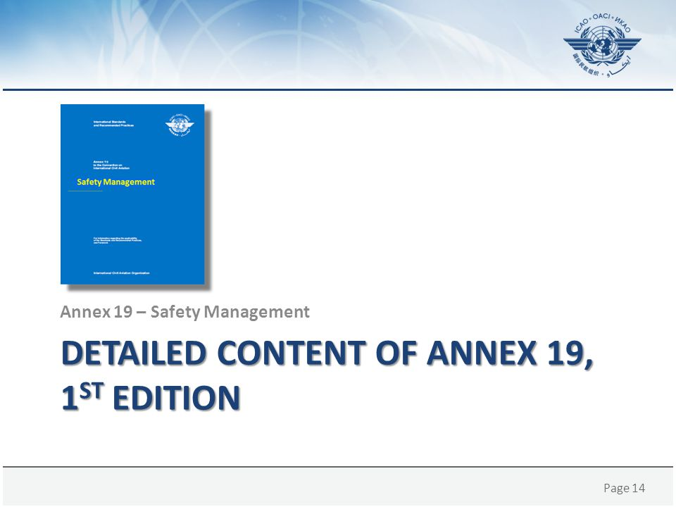 Detailed content of Annex 19, 1st edition