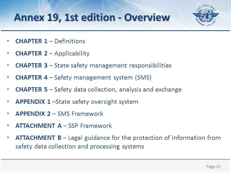 Annex 19, 1st edition - Overview