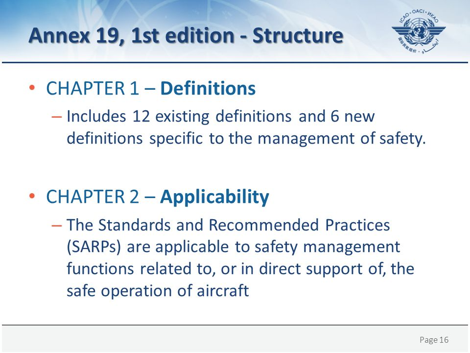 Annex 19, 1st edition - Structure