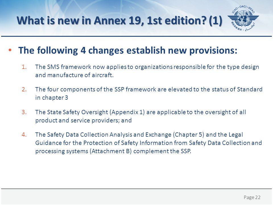 What is new in Annex 19, 1st edition (1)