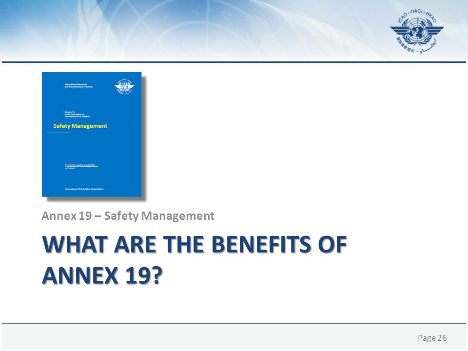 What are the benefits of Annex 19