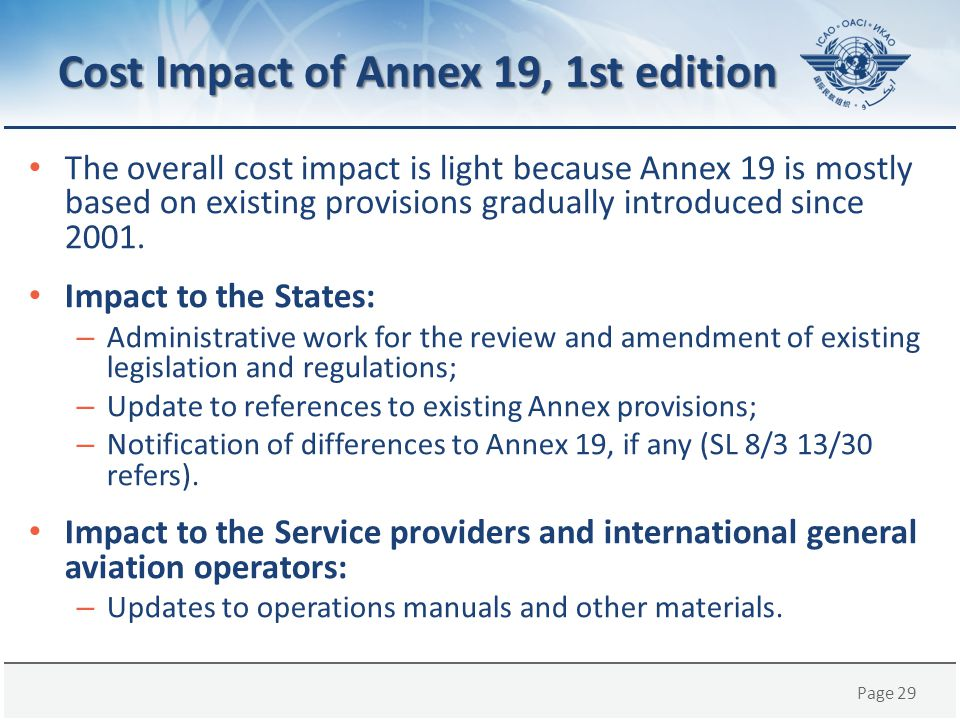 Cost Impact of Annex 19, 1st edition