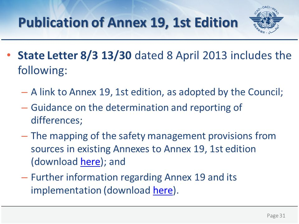 Publication of Annex 19, 1st Edition