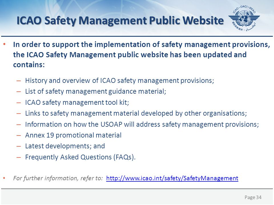 ICAO Safety Management Public Website
