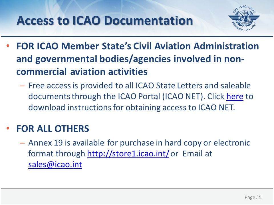 Access to ICAO Documentation