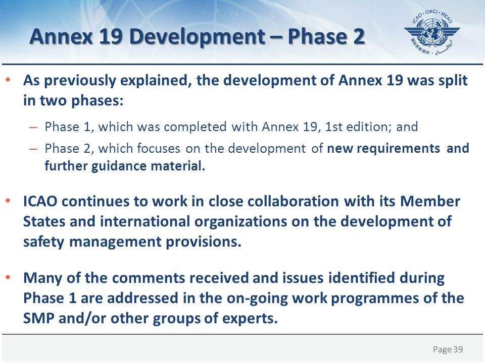 Annex 19 Development – Phase 2