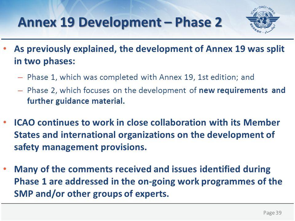 Annex 19 Development – Phase 2