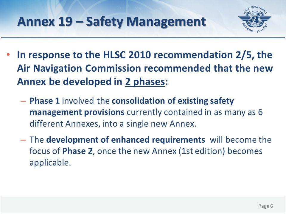 Annex 19 – Safety Management