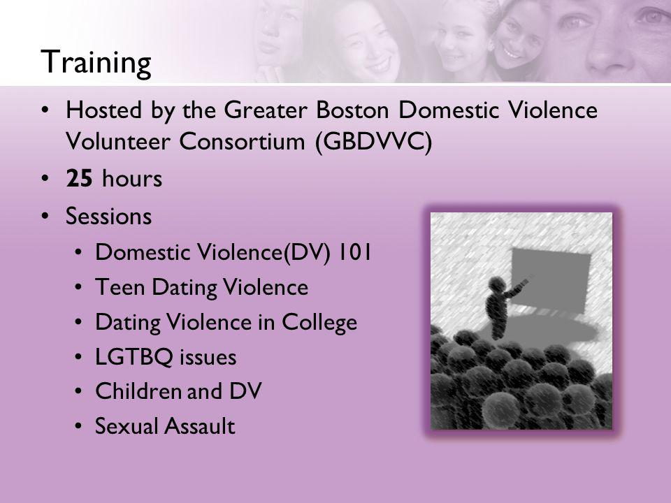 Training Hosted by the Greater Boston Domestic Violence Volunteer Consortium (GBDVVC) 25 hours. Sessions.