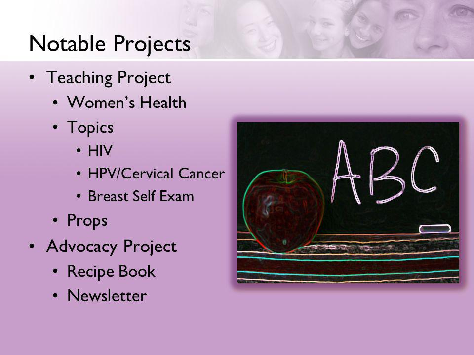 Notable Projects Teaching Project Advocacy Project Women's Health