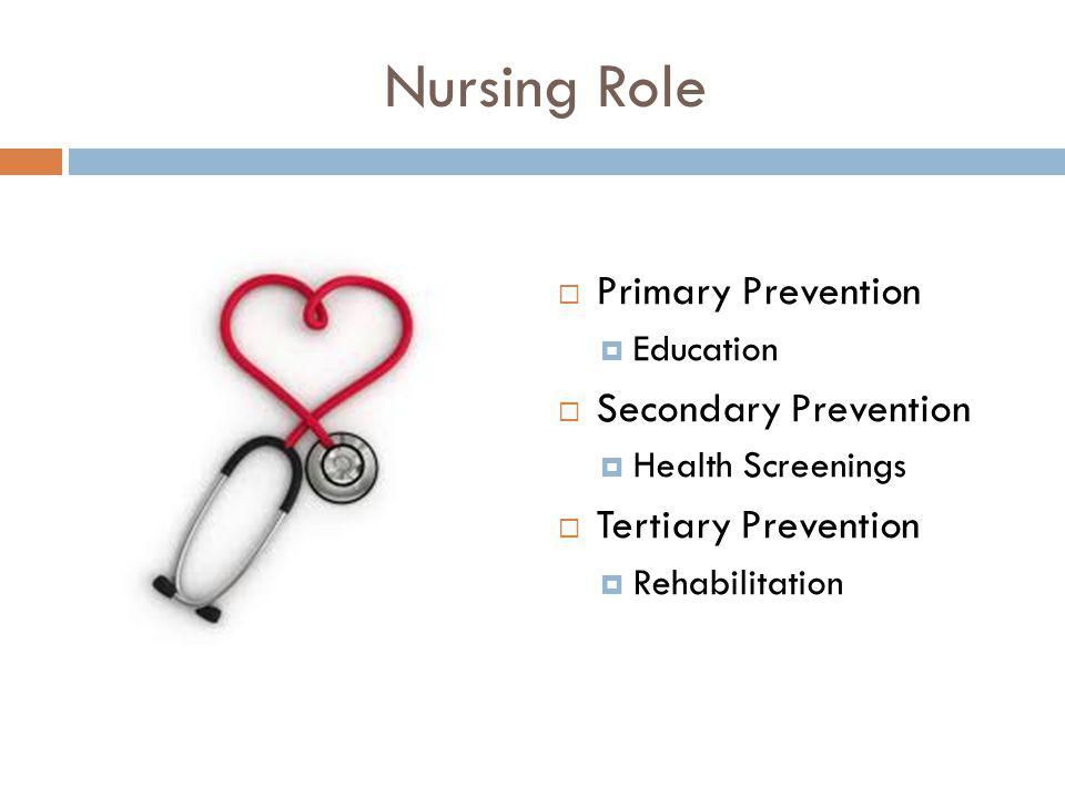 Nursing Role Primary Prevention Secondary Prevention