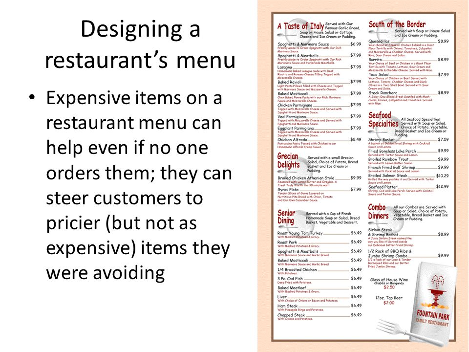 Designing a restaurant's menu