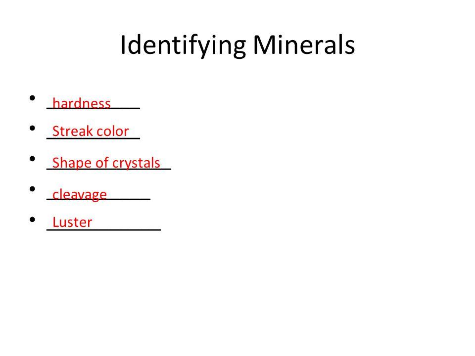 Identifying Minerals _________ ____________ __________ ___________