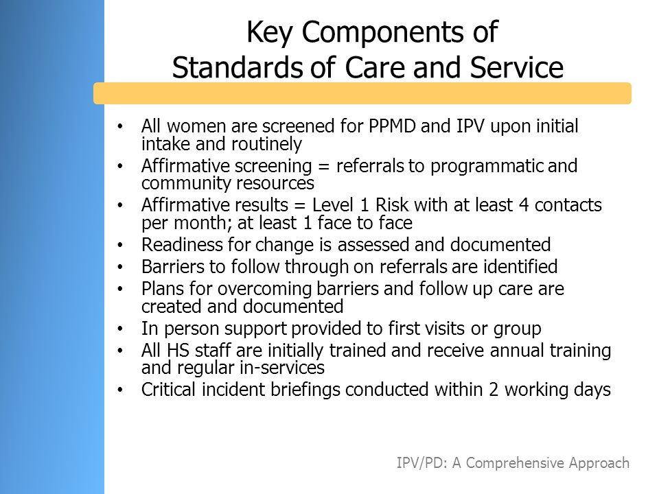 Key Components of Standards of Care and Service