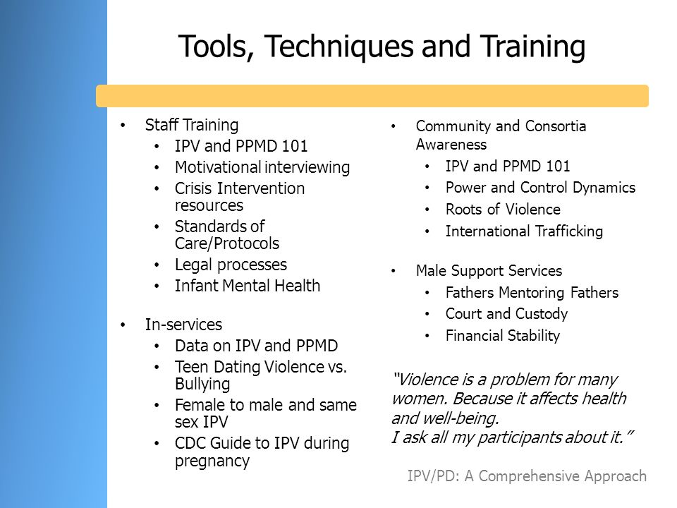 Tools, Techniques and Training