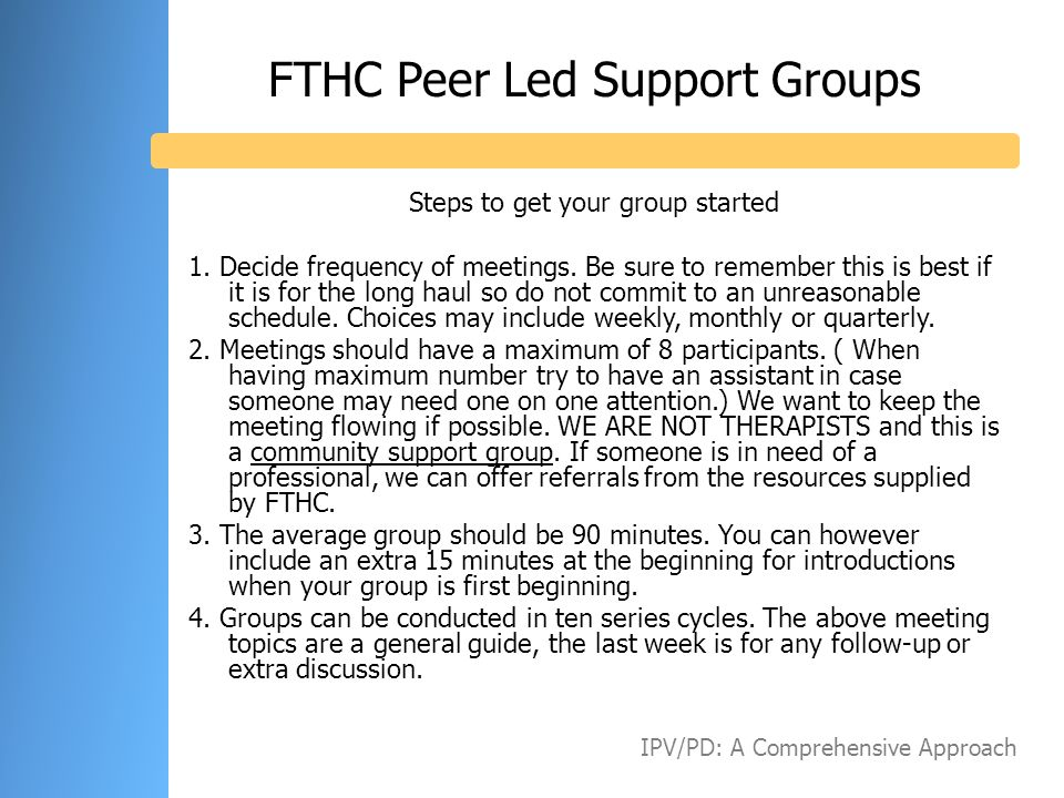 FTHC Peer Led Support Groups