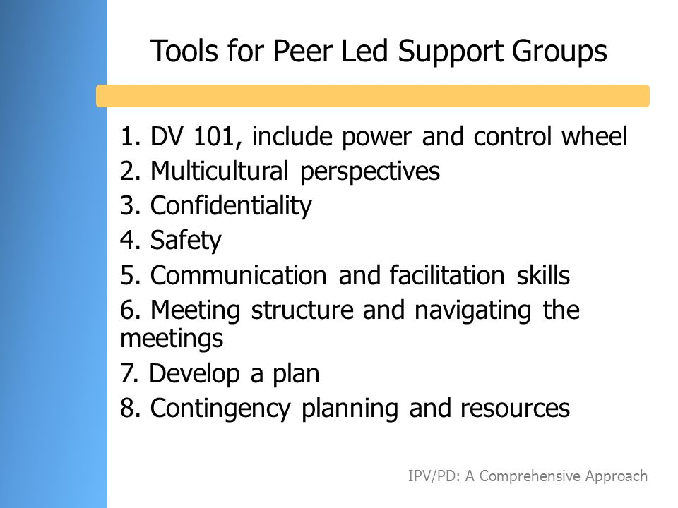 Tools for Peer Led Support Groups