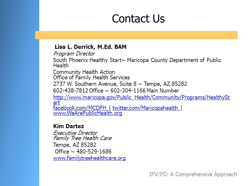 Contact Us Lisa L. Derrick, M.Ed. BAM Program Director