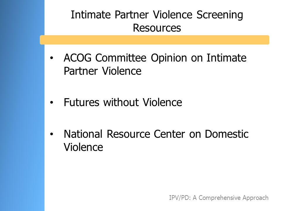 Intimate Partner Violence Screening Resources