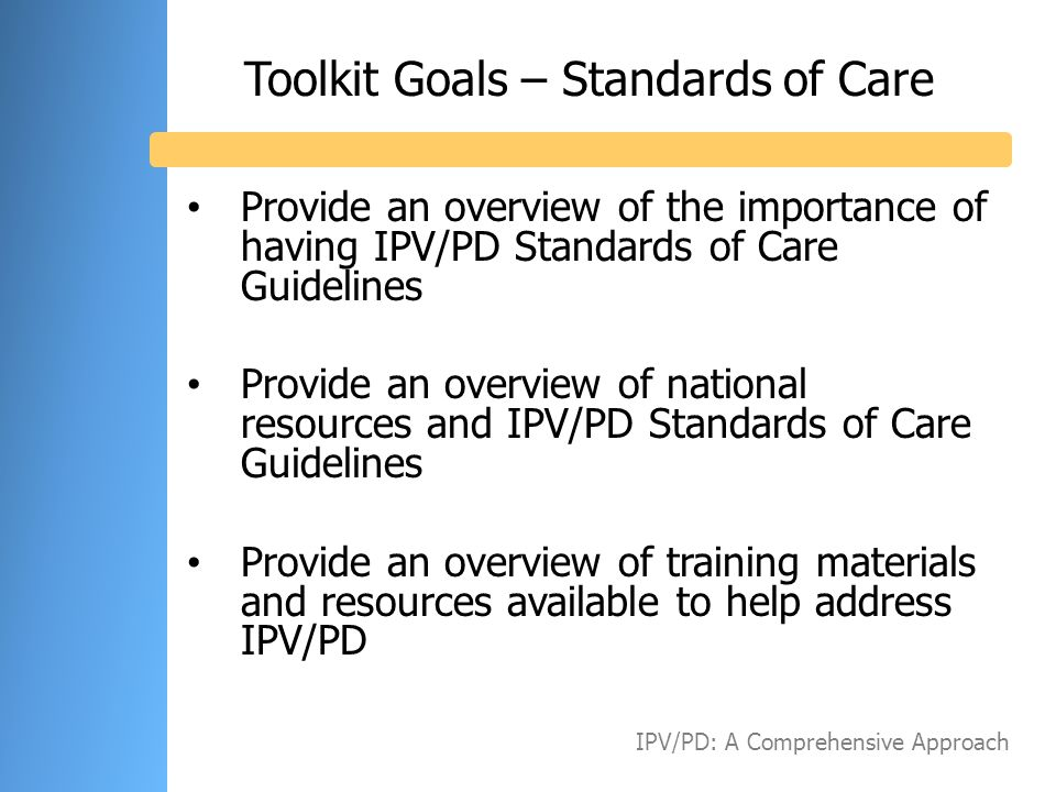 Toolkit Goals – Standards of Care