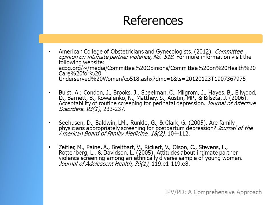 References IPV/PD: A Comprehensive Approach