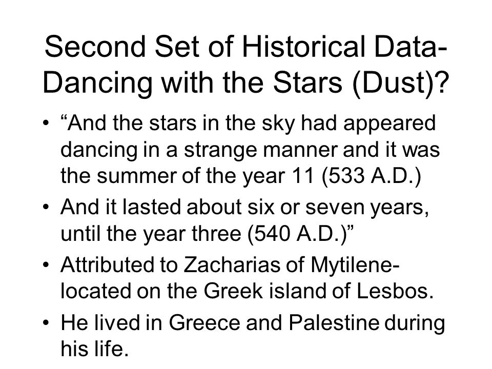 Second Set of Historical Data-Dancing with the Stars (Dust)