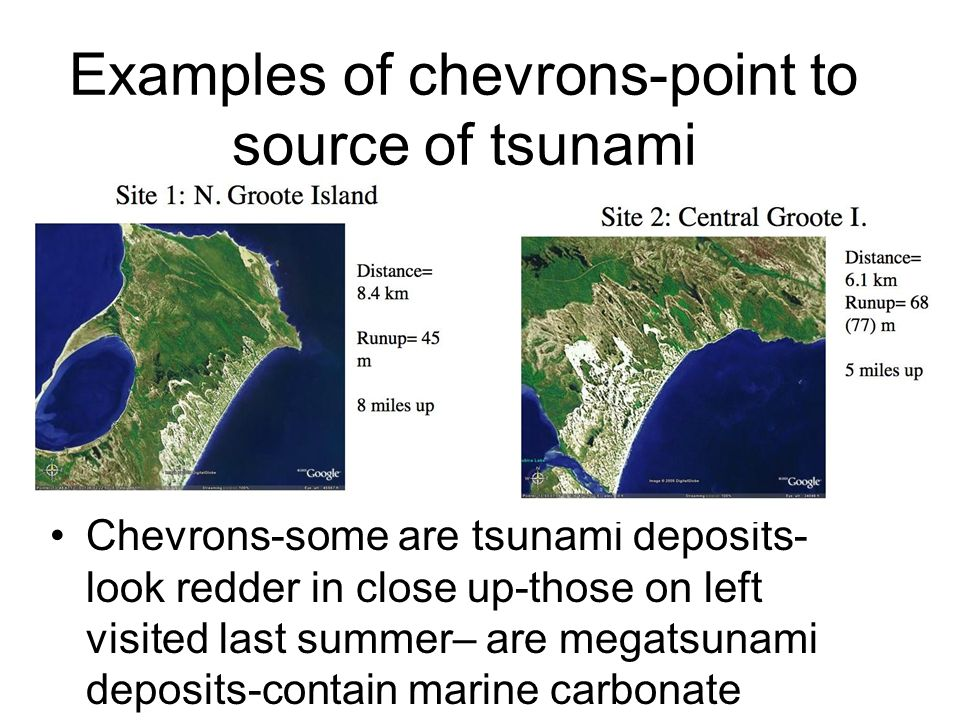 Examples of chevrons-point to source of tsunami