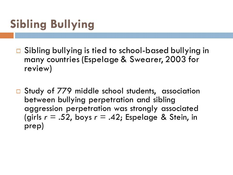 Sibling Bullying Sibling bullying is tied to school-based bullying in many countries (Espelage & Swearer, 2003 for review)