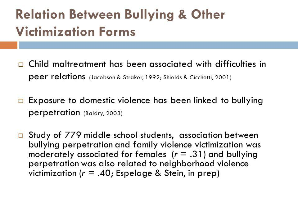 Relation Between Bullying & Other Victimization Forms