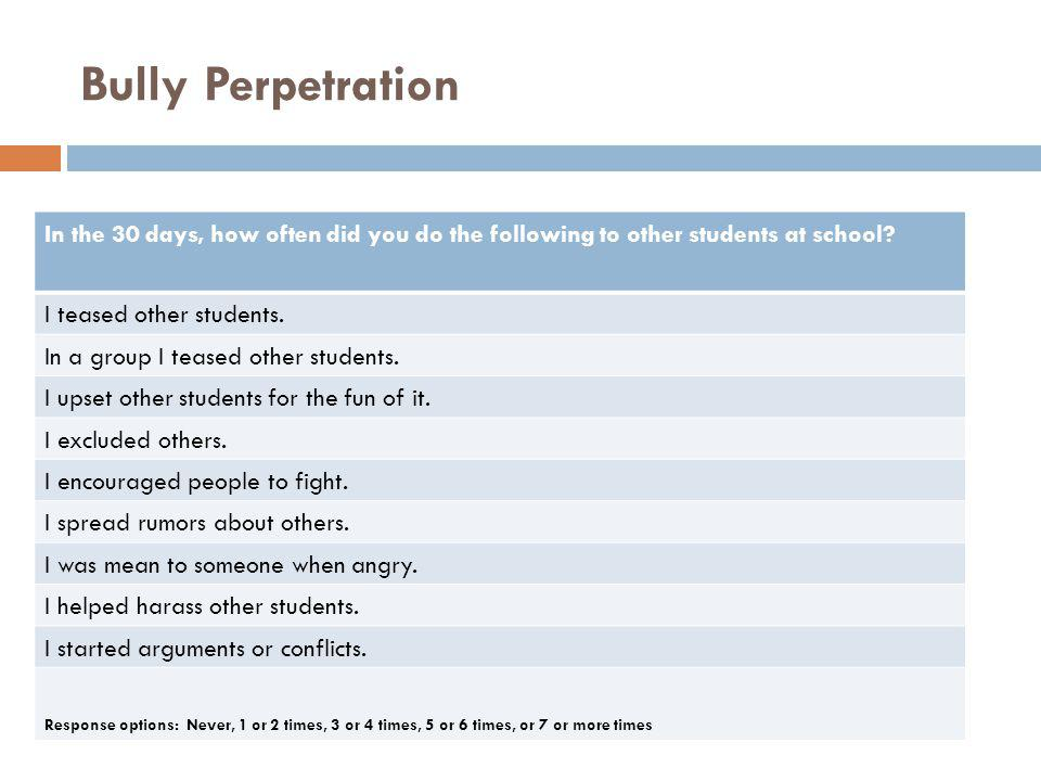 Bully Perpetration In the 30 days, how often did you do the following to other students at school I teased other students.