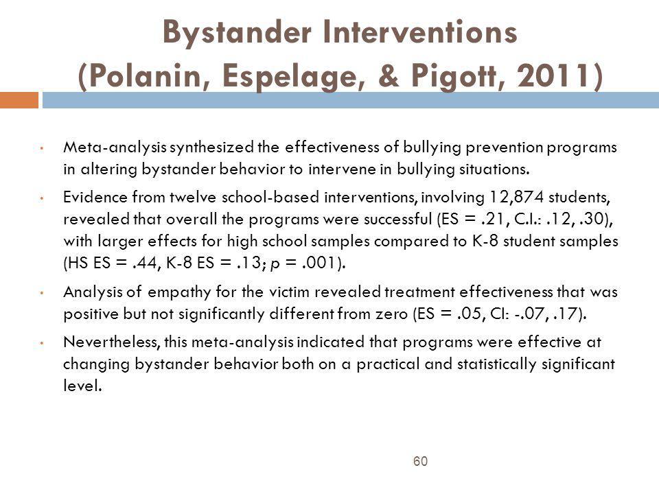 Bystander Interventions (Polanin, Espelage, & Pigott, 2011)