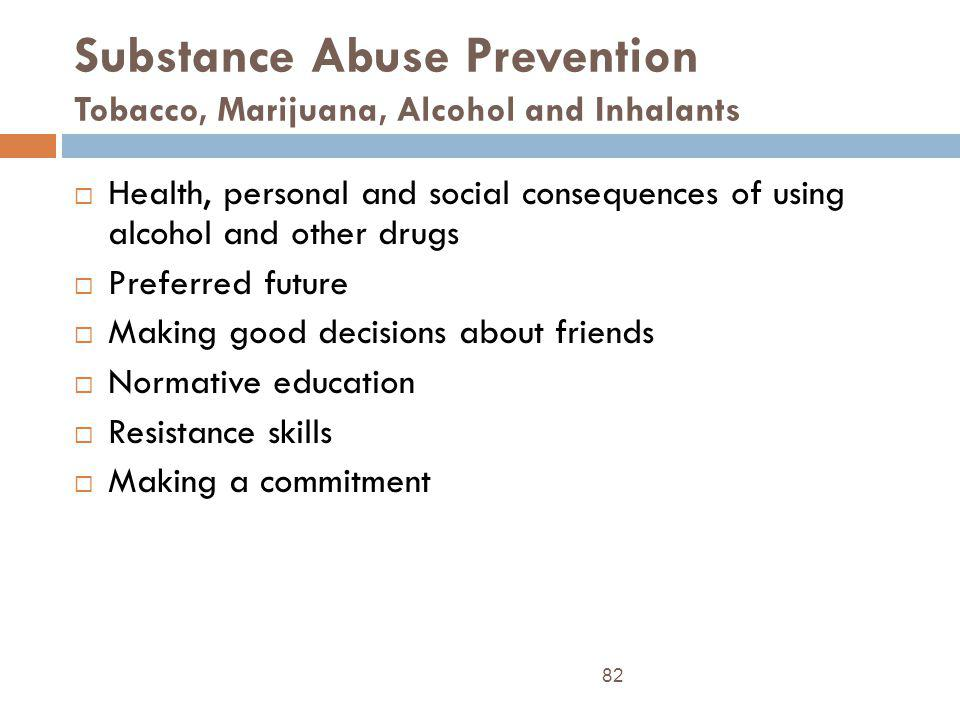 Substance Abuse Prevention Tobacco, Marijuana, Alcohol and Inhalants