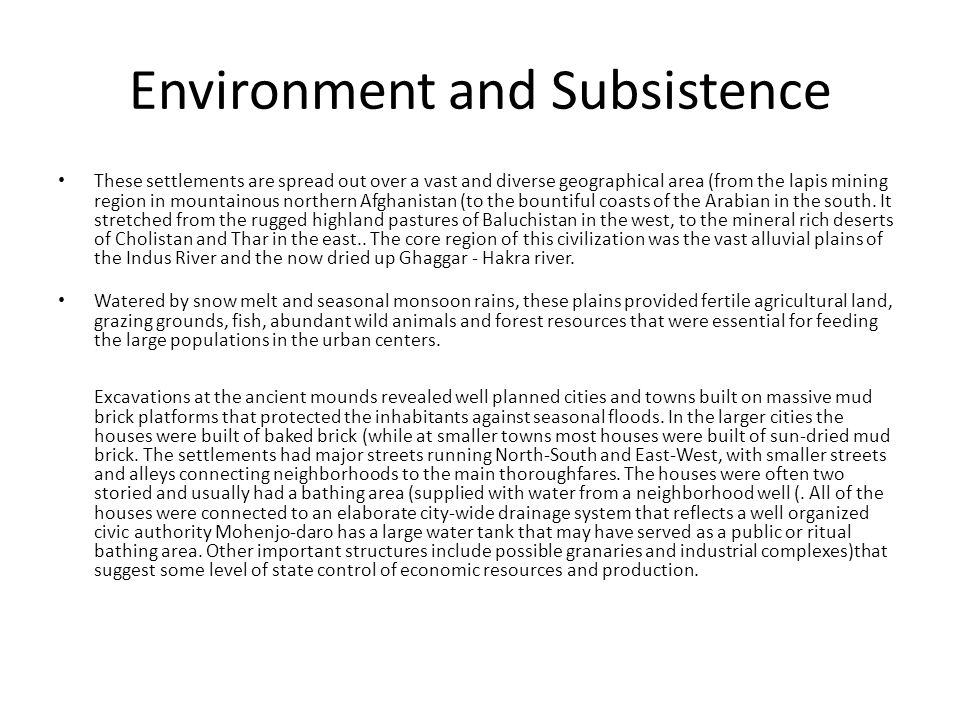 Environment and Subsistence