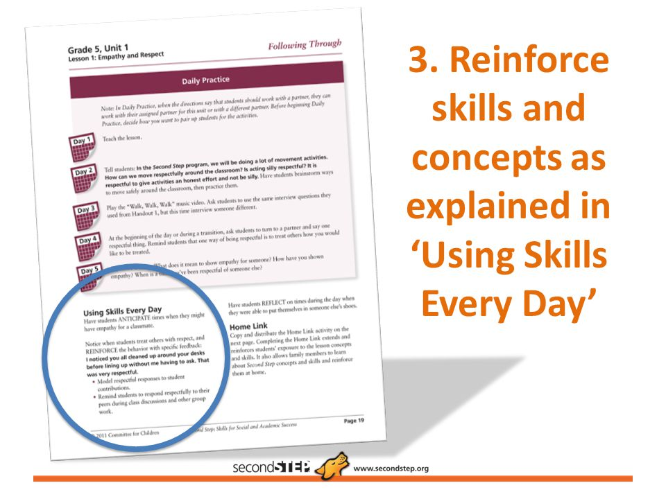 3. Reinforce skills and concepts as explained in