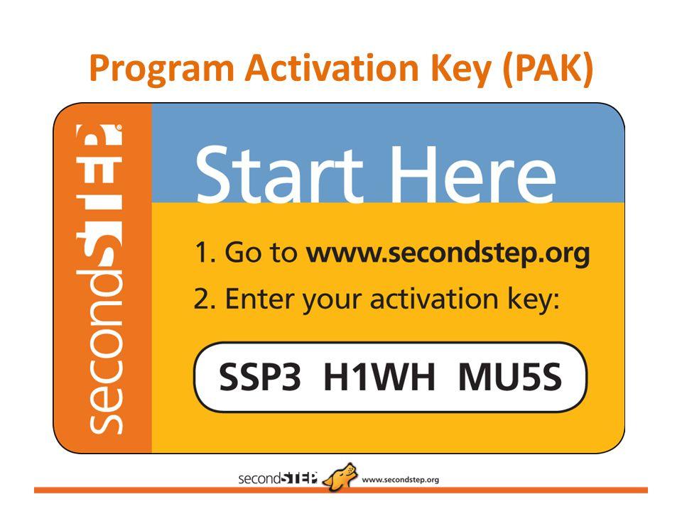 Program Activation Key (PAK)