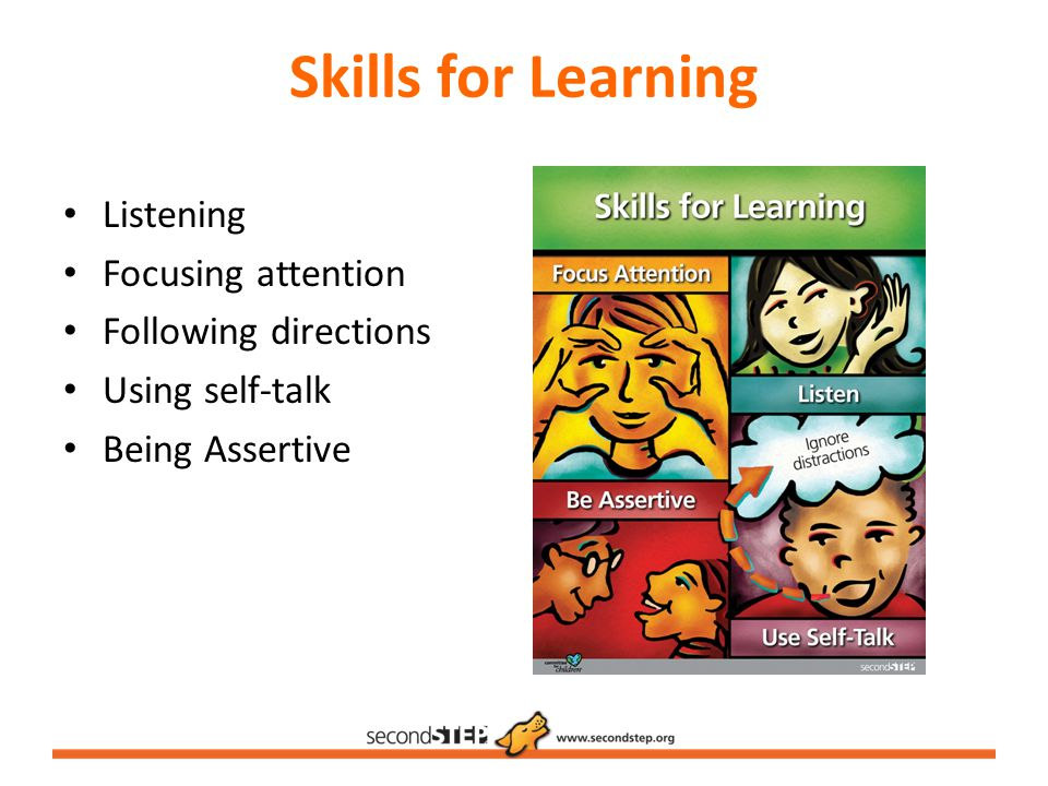 Skills for Learning Listening Focusing attention Following directions