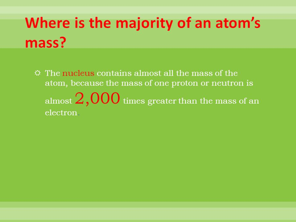 Where is the majority of an atom's mass