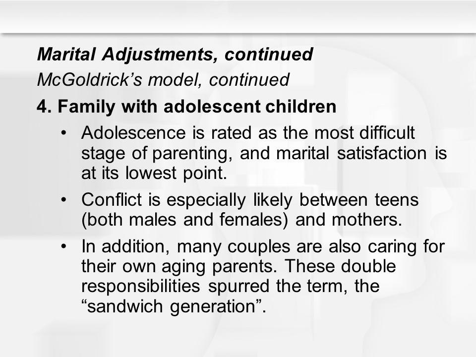 Marital Adjustments, continued