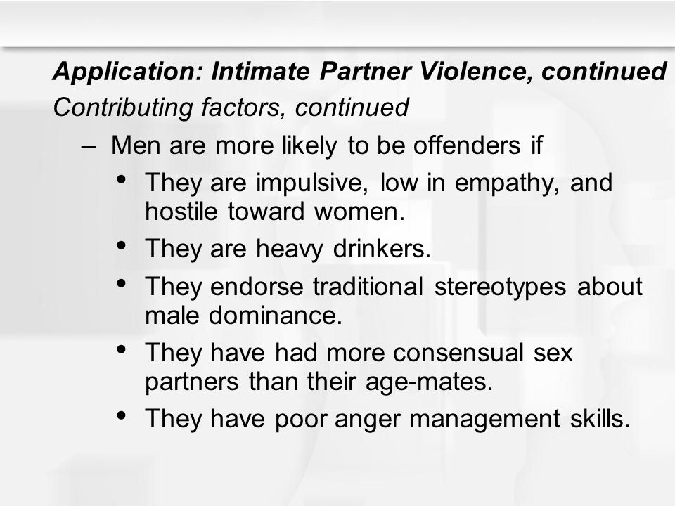 Application: Intimate Partner Violence, continued