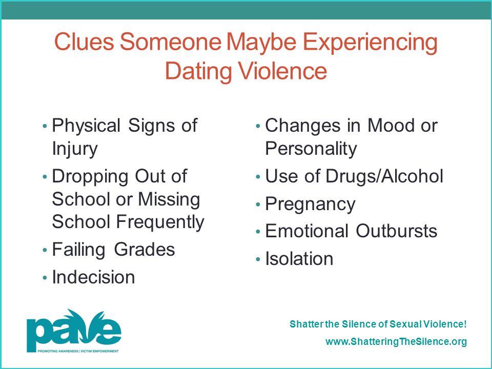 Clues Someone Maybe Experiencing Dating Violence