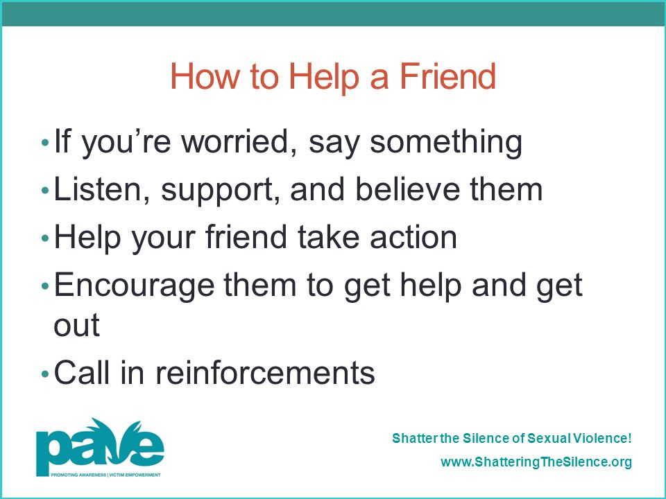How to Help a Friend If you're worried, say something