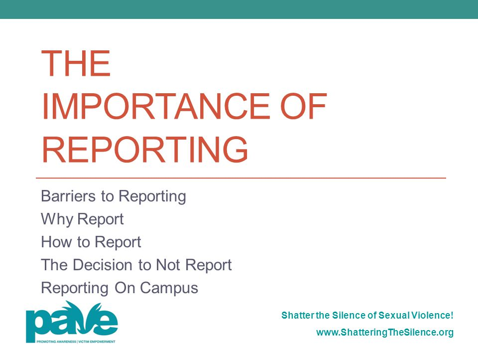 The importance of Reporting
