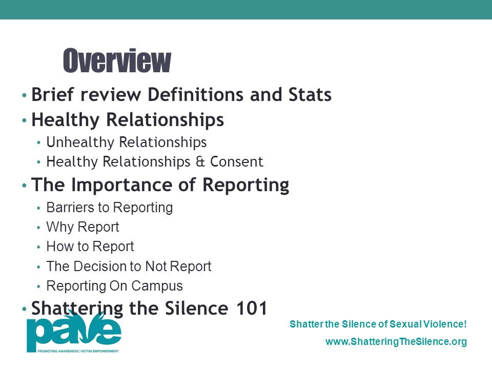 Overview Brief review Definitions and Stats Healthy Relationships