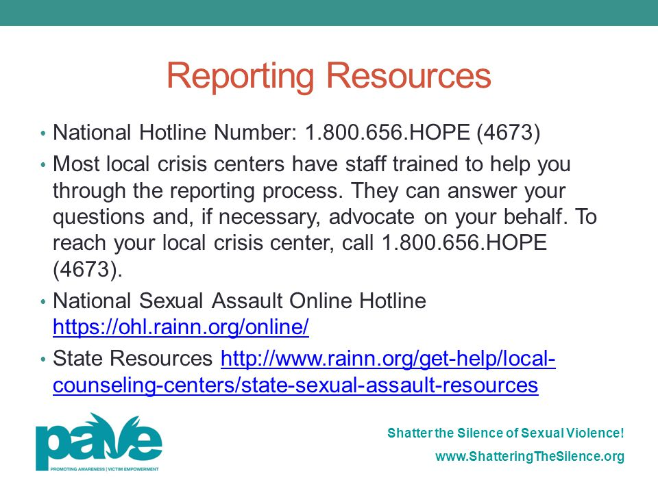 Reporting Resources National Hotline Number: 1.800.656.HOPE (4673)